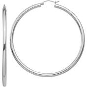10k White Gold 3mm Round Hoop Earrings