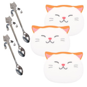3 Pcs Coffee Spoon Mini Cat Hugging Kitty Spoon,Tea Soup Sugar Dessert Spoon with 3 Pcs Cute Cat Cup Coasters Mats by Wetrys