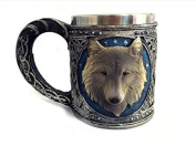 Mug stainless steel cup retro Wolf head mug 450ml