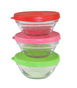 3 x Glass Bowl with Lid Round Small Glass Bowl Stackable Colour lid Storage 9cm