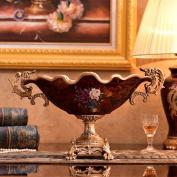 Longless European-style ceramic home crafts ornaments retro painted creative ceramic fruit plate