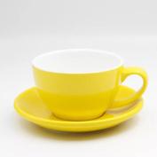 JIANGU coffee cup set, ceramic coffee cup, hot latte cup, cup dish Lahua wide set, cup