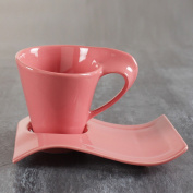 Ceramic wave coffee cup saucer/ milk tea cup / milk cup saucer, European and American style tea cup,Pink