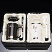 Creative coffee cup set office mug / milk cup / couple cup/ ceramic cup with cover spoon,Black and white lovers