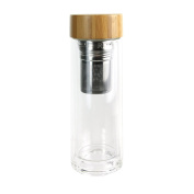 Saveur et Degustation ka2117 Strainer Stopper, Bamboo and Glass, Double Wall, 7.2 x 7.2 x 21.3 cm