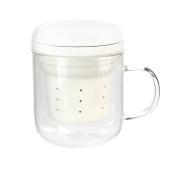 Saveur et Degustation ka2126 Mug infuseur-320ml, Transparent Glass, White, 8 x 10.6 x 10.2 cm