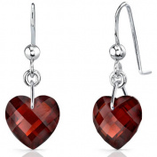 Oravo 9.00 Carat T.G.W. Heart-Shape Garnet Rhodium over Sterling Silver Drop Earrings