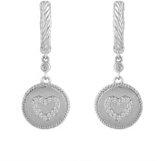 Chetan Collection 0.12 Carat T.W. Diamond Sterling Silver 925 with 18kt Gold Plating Designer Dangle Heart Earrings