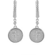 Chetan Collection 0.09 Carat T.W. Diamond Sterling Silver 925 with 18kt Gold Plating Designer Cross Earrings