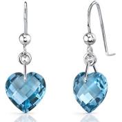 Oravo 8.25 Carat T.G.W. Heart-Shape London Blue Topaz Rhodium over Sterling Silver Drop Earrings