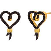 Knots of Love 14kt Yellow Gold over Sterling Silver 1/10 Carat T.W. Black Diamond Heart Earrings