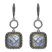 MARC Sterling Silver gold trim Blue Synthetic Qtz & Marcasite Earrings