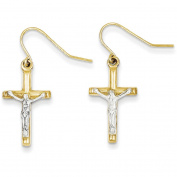 14k Two-tone Polished Crucifix Earrings