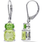 5-7/8 Carat T.G.W. Lemon Quartz and Peridot Sterling Silver Leverback Earrings
