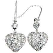Plutus CZ Sterling Silver Rhodium-Finish Heart Fashion Earrings