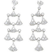 Plutus Sterling Silver Rhodium-Finish Brilliant Antique Style Pave Earrings