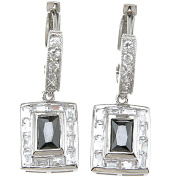 Plutus Sterling Silver Rhodium-Finish Brilliant and Baguettes Fashion Bezel Earrings