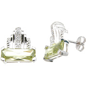 Plutus Sterling Silver Rhodium-Finish Emerald-Cut Fashion Pave Earrings