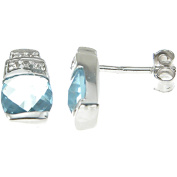 Plutus Simulated Topaz or Simulated Lavender Crystal Sterling Silver Rhodium-Finish Cushion-Cut Fashion Earrings