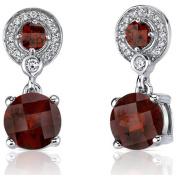 Oravo 5.50 Carat T.G.W. Round-Cut Garnet Rhodium over Sterling Silver Drop Earrings
