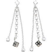 Plutus Sterling Silver Rhodium-Finish Brilliant Fashion Prong Earrings