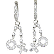 Plutus Sterling Silver Rhodium-Finish Brilliant Fashion Pave Earrings