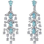 Oravo 4.00 Carat T.G.W. Pear-Shape Swiss Blue Topaz Rhodium over Sterling Silver Drop Earrings