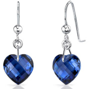 Oravo 9.75 Carat T.G.W. Heart-Shape Created Blue Sapphire Rhodium-Plated Sterling Silver Fishhook Earrings