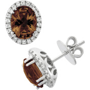 5th & Main Platinum-Plated Sterling Silver Facet-Cut Smokey Topaz Pave CZ Earrings