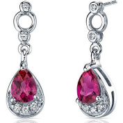 Oravo 1.50 Carat T.G.W. Created Ruby Rhodium over Sterling Silver Dangle Earrings