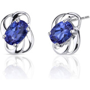 Oravo 2.00 Carat T.G.W. Created Blue Sapphire Rhodium-Plated Sterling Silver Stud Earrings