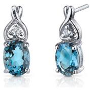 Oravo 3.00 Carat T.G.W. Oval-Cut London Blue Topaz CZ Rhodium over Sterling Silver Drop Earrings