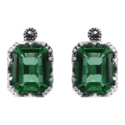 MARC Sterling Silver Green Synthetic Qtz & Marcasite Stud Earrings