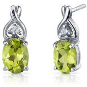 Oravo 2.50 Carat T.G.W. Oval-Cut Peridot CZ Rhodium over Sterling Silver Drop Earrings