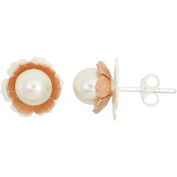 5th & Main Sterling Silver and 14kt Rose Gold-Plated Rose Pearl Flower Earrings