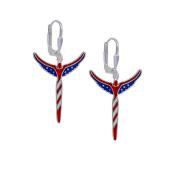 Lavaggi Jewellery Sterling Silver Petite American Angel Patriotic and Inspirational Earrings, Designer 925
