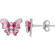Simply Silver Kids' Sterling Silver Pink Enamel with Crystal Butterfly Stud Earrings