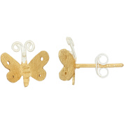 5th & Main Sterling Silver and 14kt Gold-Plated Butterfly Earrings