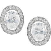 Brinley Co. Women's Sterling Silver Multi-faceted CZ Oval Stud Earrings