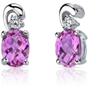 Oravo 2.00 Carat T.G.W. Round-Cut Created Pink Sapphire Rhodium over Sterling Silver Drop Earrings
