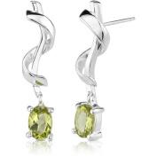 Oravo 1.50 Carat T.G.W. Oval-Shape Peridot Rhodium over Sterling Silver Stud Earrings