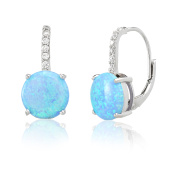 Lab Created Blue Opal and Cubic Zirconia Drop Leverback Earring in Sterling Silver