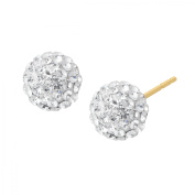 Luminesse Glitter Ball Stud Earrings with Crystals in 14kt Gold
