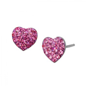 Heart Stud Earrings with Rose Crystal in Sterling Silver