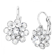 Luminesse Flower Drop Earrings with Crystals in Sterling Silver-Plated Brass