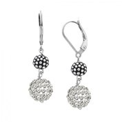 Ball Drop Earrings with Crystals Pav in Sterling Silver