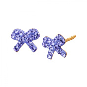 Luminesse Girl's Bow Stud Earrings with Purple Crystals in 14kt Gold