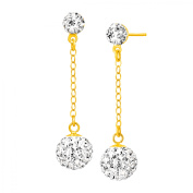 Luminesse Ball Drop Earrings with Crystals in 14kt Gold