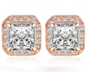BocaGold Cubic Zirconia and Crystal Halo Stud Earrings Nickel Free Rose Gold Tone