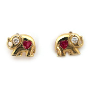 14k Yellow Gold Simulated Ruby and Cubic Zirconia Elephant Stud Earrings with Child Safe Screwbacks